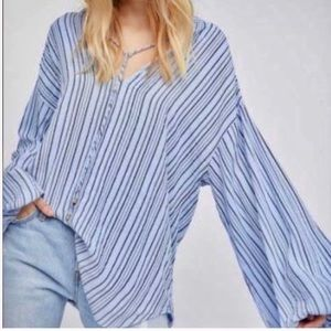 Free People Blue Striped Oversized Tunic Top